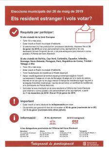 Eleccions municipals del 26 de maig de 2019. Ets resident estranger i vols votar?